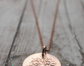 Rose Gold Filled Family Tree Pendant - Personalized Tree Necklace by EWDJewelry