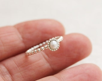 Romantic freshwater pearl ring. Stacking ring. Beaded/dotted silver ring. Stack ring.