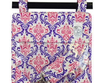 Damask Hot Pink Purple  Hour Bags