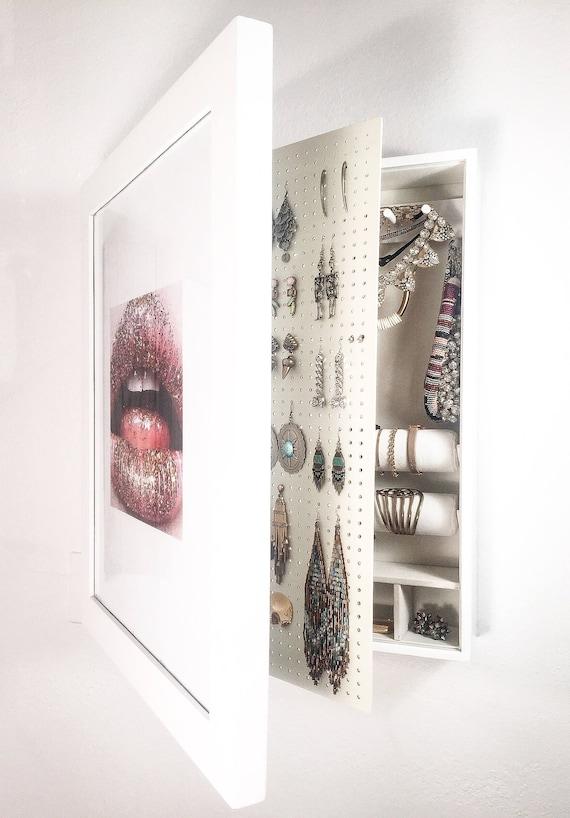 White Wall Mounted Jewelry Organizer Mirror Frame NOT