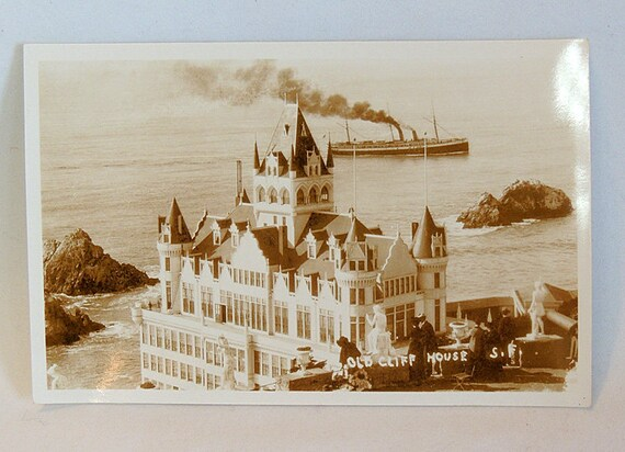 Early (Pre 1907 Fire) RPPC Sepia Postcard.. Old CLIFF HOUSE.. San Francisco.. Unposted