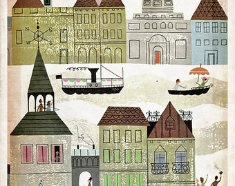 "Vintage Fairy Tale Illustration ""Rainbow Village"" European City Fairytale Print - Pastel Houses Boats"
