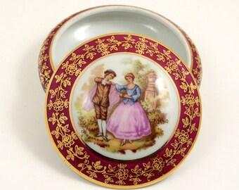 Vintage Limoges France Porcelain Trinket Box,  Leclair Meissnet, 3 Inches, Maroon and Gold, Classic Fragonard Design