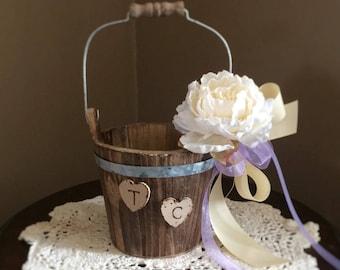 Rustic flower girl basket- Flower Girl Basket- Flowergirl- Burlap Baskets Rustic - Shabby Chic Weddings- Rustic wooden basket- Flower girl