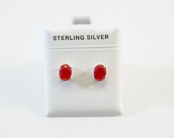 Oval-Shaped Red Jade Stud Earrings