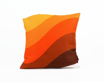 70s Striped Pillow cover - Designer Pillow - Couch Pillow - Decorative Pillow in Orange, Yellow and Brown by EllaOsix