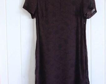 90's, dark maroon, mid / long length, short sleeved, sheer dress