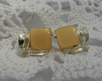 Square Thermoset Butterscotch Moonglow Clip On Earrings