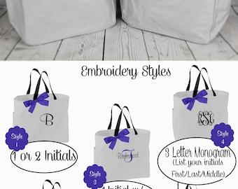 10 Personalized Bridesmaid Tote Bags- Bridesmaid Gift- Personalized Bridesmaid Tote- Wedding Party Gift- Name Tote-