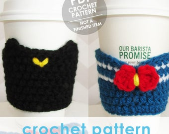 crochet coffee sleeve pattern, sailor moon coffee cup sleeve, 2 patterns in 1, crochet coffee sleeve, crochet coffee cozy, kawaii anime