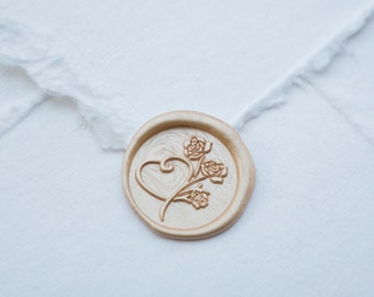 Heart and Rose Wax Seal | Flower and Love Wax Seal Stamp
