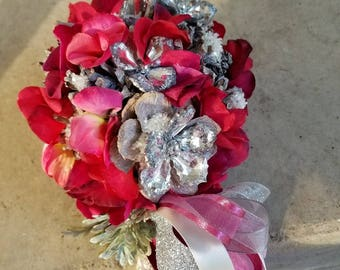 Winter Deep Red and Silver Flower Girl Pom Wand