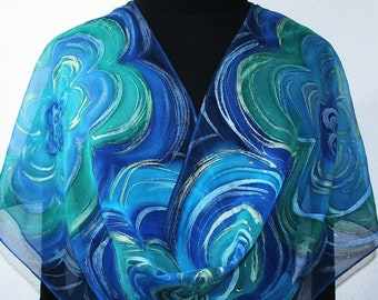 Silk Scarf Handpainted Blue Green Hand Painted Shawl FLOWER RIPPLES, by Silk Scarves Colorado. Select Your SIZE! Anniversary, Mother Gift.