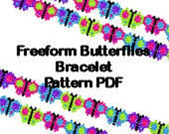 Beaded Butterfly Brick Stitch Bracelet Pattern PDF Digital File