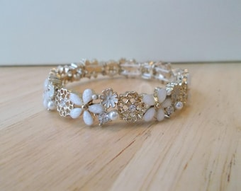 SALE Gold Tone Stretch Bracelet with White Sea Shell Pearls, White Flowers and Clear Rhinestones