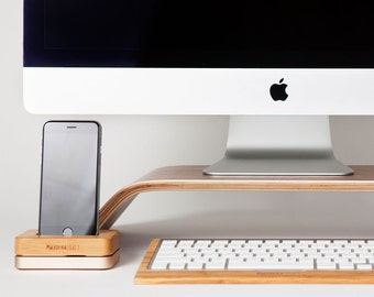 Desk Theme Package A | Monitor Stand | Keyboard Holder | Phone Case | Wood Monitor Riser | Bamboo - Walnut Wood | Desk Collection