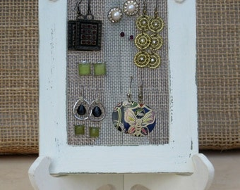 Earring Holder On A Stand / cream Shabby Chic