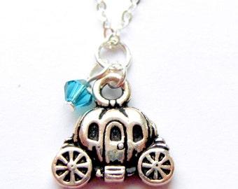 Disney necklace, pumpkin carriage necklace, princess necklace, cinderella jewellery, sterling silver Swarovski crystals