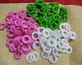 Crochet Appliques, Handmade Appliques, Sew on Appliques, Crochet Rings, Decorative Appliques,  Craft supplies - 125 pcs Pink