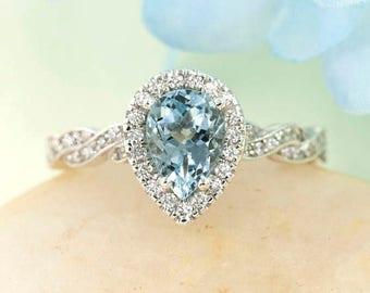 Aquamarine Engagement Ring.Diamond Bridal Set.8x6mm Aquamarine Wedding Ring.Diamond Engagement Ring.Diamond Wedding Band.Twist Wedding Ring