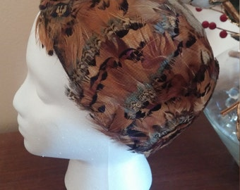 Vintage Pheasant Feather Pillbox Hat by Saks Fifth Avenue