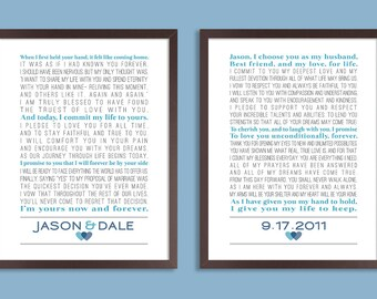 Wedding Vows, Set of two prints, Wedding Vow Art, Wedding Vow Keepsake, 1st Anniversary Gift, Wedding Gift, Anniversary Gift