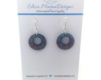 Blue and Red Earrings, Blue & Red Enamel Earrings, Handmade Earrings, Kiln Fired Enamel Earrings, Glass Earrings, Glass Jewelry