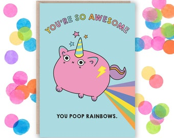 Funny Best Friend Card, Funny Card For Friend, Friend Birthday Card, Unicorn Poop Card, Funny Birthday Card, Birthday Card For Her