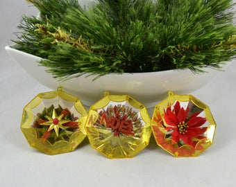 Vintage Jewel Brite Ornaments, Mid Century Gold Plastic Jewel Diorama Christmas Ornament