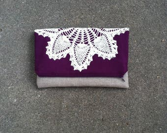 Fold Over Clutch - Vintage Doily Clutch Bag