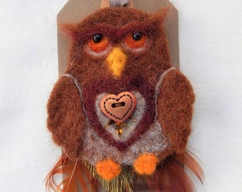 Owl brooch with heart Needle felted owl with feather detail