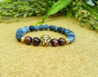 Lion bracelet, mens bracelet, mens beaded bracelet, lion bracelet men, beaded bracelet for men, red tiger eye bracelet, mens jewelry