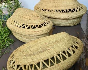 boho nesting baskets / set of 3 lidded grass woven baskets