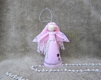 Angel Tree Topper, Pink Christmas Angel, Felt Angel Doll, Angel Tree Ornament, Handmade Christmas Doll, Guardian Angel, Kindness Elf