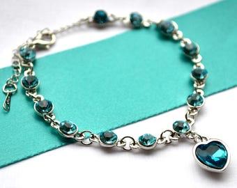 Beautiful women sapphire Blue Heart bracelet jewelry Bridesmaid gift for her crystal jewelry aquamarine turqoise bracelet