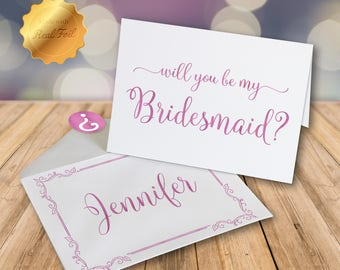Will you be my Bridesmaid Card/ Bridesmaid proposal/ Gold foil card/ Wedding party card/ Personalized card