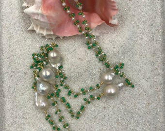 Long Green Chalcedony and Pearl Rosary Chain with Baroque Pearls