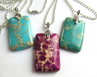 40x25mm Rectangular Magnesite Focal Pendant Necklace with Silver Plated Findings