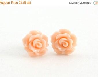 25%OFFSALE Tiny Peachy Pink Ruffled Rose Earrings, Stud Earrings, Flower Earrings, Bridesmaids Gift