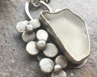 Sea Glass Sterling Silver Flower Necklace - twochickstoo women's jewelry sea glass necklace beach glass silver necklace flower necklace
