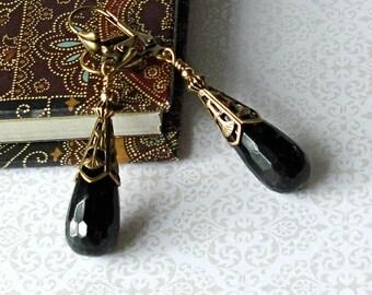 Black Onyx TearDrop Drop Earrings 14 kt Gold Filled Vintage Edwardian Victorian Art Deco Boho Anniversary Birthday Bridal Wedding Gift
