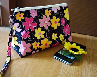 Pink and black gift , yellow flower makeup bag, flower makeup bag , cute makeup bag , cute wristlet pouch, floral wristlet pouch , wristlet