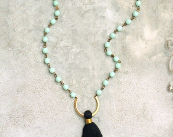 Long Tassel Necklace Black Tassel, Aqua Beads, Beaded Bohemian Tassel Necklace