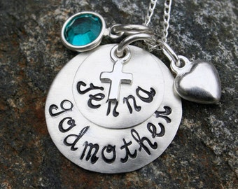 Godmother Necklace/Godchild Necklace - in Sterling Silver - hand stamped with birthstone and heart
