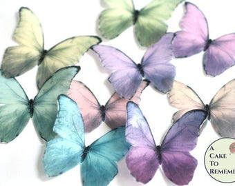 Edible butterflies, 12 wafer paper pastel butterflies wedding cake topper, cake decorating, cupcakes. Blue morpho butterflies for cakes