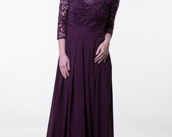 Dark purple bridesmaid dress Lace purple bridesmaid dress with sleeve Long dark purple dress Lace purple prom dress long Dark purple wedding
