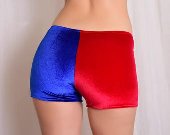 Red and Blue Velvet boy shorts. Harley Quinn cosplay Shorts. Low Rise hot pants.