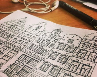 Printable coloring book - Colorful Amsterdam houses - Printable Zine - Artist Zine - Illustration Zine