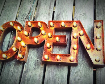 """18"""" x 45"""" wide Steel Marquee OPEN SIGN with back, rusty for Peter"""