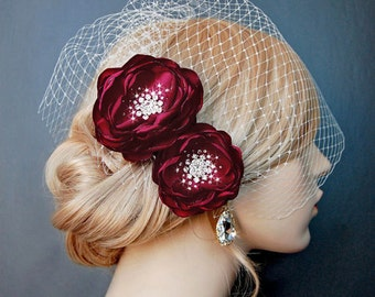 Wedding Hair Flowers, Dark Red Bridal Hair Flowers, Wedding Headpiece, Wedding Sash Accessory, Brooch 2 Piece Set - Crimson Blood Red Blooms